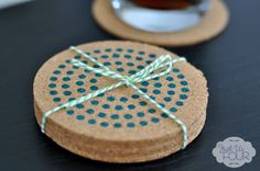 DIY stamped cork coasters! Perfect little housewarming gift