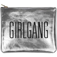 Sarah Baily - Mini Clutch Girlgang Silver (€170) ❤ liked on Polyvore featuring bags, handbags, clutches, purses, silver purse, silver handbags, silver hand bag, mini hand bags and miniature purse