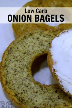 An easy low carb bagel recipe made at home with a donut mold pan. These gluten free onion bagels are made with flax and coconut flour. | LowCarbYum.com via @lowcarbyum