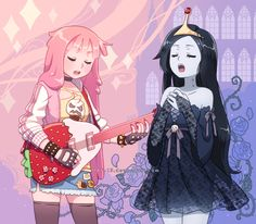 Queen Bubblegum and Vampire Princess by DAV-19 on @DeviantArt