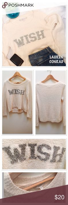 💕Lauren Conrad 💕 wish sweater OMG 💕 So cute! Beige and Silver Lauren Conrad sweater! Only worn a couple of times. Size XS but could also be worn by a S if you want it a little more cropped! 20.5 in length ( front)  21 in (back) , bust 35in ! What do you wish for 😉 LC Lauren Conrad Sweaters Crew & Scoop Necks