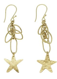 Hand made brass star earrings. Featuring an interlinking chain and star design, crafted entirely by hand. Length 9cm. Hand made by artisans at Bombolulu Workshops in Kenya.