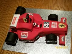 Coolest M&M Race Car Cake- Coolest M&M Race Car Cake Homemade Formula One Birthday Cake: This Formula One Birthday Cake was made for my son& best friend, who is a motor mechanic and loves Formula 1 racing. The cake was made from Madeira - Diy Birthday Cake, Race Car Birthday, Race Car Party, First Birthday Cakes, Man Birthday, August Birthday, Birthday Ideas, Ferrari Cake, Ferrari Party