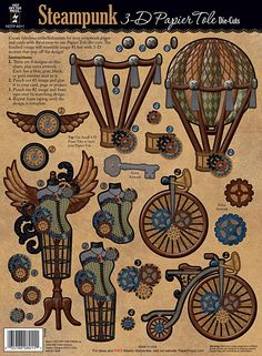 Steampunk Papier Tole by Hot Off The Press Inc 3d Paper Crafts, Paper Toys, Paper Art, 3 D, Scrapbook Paper, Scrapbooking, Steampunk Crafts, Die Cut Paper, Create And Craft