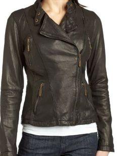 Elegent black leather jacket for women