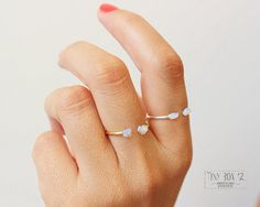 Opal Ring, Opal Sterling Silver Ring, White Opal Stacking Rings, Dainty Opal Ring   This list is for one super cute and tiny white opal ring.  Set of 2
