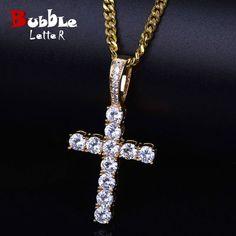 Men Women AAA Zircon Cross Pendant Gold Silver Copper Material Iced CZ  Cross Pendants Necklace Chain 94a57294e616