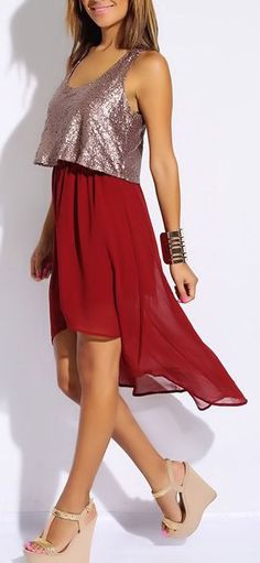 Sequined Chiffon Dress <3 Though Minus the sequins, for me!