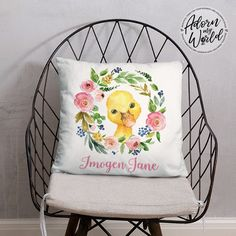 Personalized Duckling Pillow, Baby Duck Gifts, Custom Name Pillow, Duckling Nursery Decor, Duckling Baby Shower Gift, Girl, Duckling Cushion