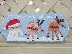 Christmas Handprint Plaque | One Artsy Mama