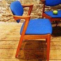 Danish Mid Century Modern Upholstered Teak Chairs Model #42 by Kai Kristiansen - Set of Four