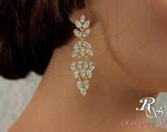 Gold wedding earrings crystal chandelier earrings rhinestone wedding chandelier earrings vintage style wedding earrings 1184