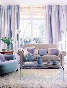 Loving this lilac! That drapery is just to die for, and the way it ties in with the pillows and accents in perfect.