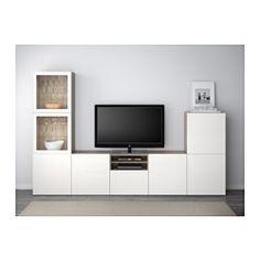 Option B (Might be big for future apartments) IKEA - BESTÅ, TV storage combination/glass doors, walnut effect light gray/Selsviken high gloss/white clear glass, drawer runner, push-open, ,