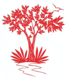 cut paper design Tree with Bird