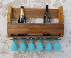 Porta garrafas e taças simples - Agnolias Wine Rack, Cabinet, Storage, Bar, Furniture, Home Decor, Woodworking Ideas, Simple, Wall