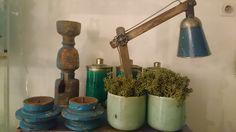 Stoere blauwe lamp met PTMD potten | VIA CANNELLA WOONWINKEL | CUIJK