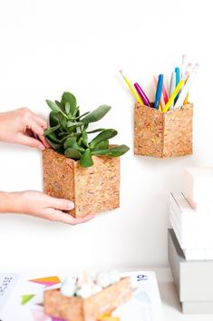 Hanging DIY office organizers made of sheets of cork