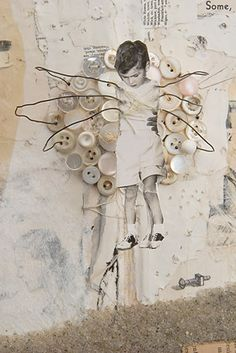 ⌼ Artistic Assemblages ⌼ Mixed Media & Collage Art - Some, Found (detail) by Lisa Kokin  Mixed media book collage