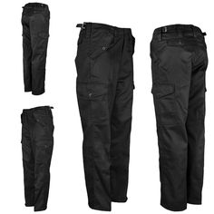 Mens Gents Work Wear Trouser Combat Pants Bottoms Multi Pockets Trousers BLACK | eBay