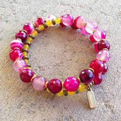 Pink agate and Yellow jade 27 bead wrap mala bracelet – Lovepray jewelry