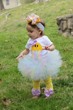 Baby Girl Easter Tutu Outfit -- Pretty Little Chickie -- personalized onesie, Tutu, bow and Leg Warmers on Etsy, $84.95