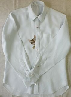 cat shirt a hand embroiderd cat peeps out from the by ShopGoGo5