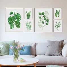 Modern Watercolor Green Leaf Plants Art Print Poster A4 Floral Wall Art Picture Nordic Home Decor Canvas Painting No Frame Gifts