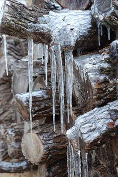 """Icy Wood Pile ~ January 2007"" by stevetoearth on Flickr - According to the photographer thick ice covered everything, including this wood pile, during a January 2007 ice storm."