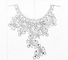Kurti neck design drawing with pencil on paper for hand emroidery designs/neckline sketch for kurti design - Draw online Neckline Designs, Back Neck Designs, Kurti Neck Designs, Fancy Blouse Designs, Embroidery Neck Designs, Border Embroidery, Floral Embroidery Patterns, Embroidery Art, Beadwork Designs