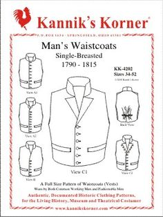 Man's Waistcoats  Single-Breasted  Worn by Both Common Working Men  and Fashionable Men  c. 1790-1815