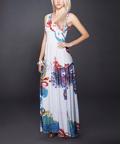 a30632f2862b Take a look at this White  amp  Purple Abstract Floral Maxi Dress by Adore  on