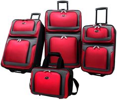 US Traveler New Yorker 4 Piece Luggage Set Expandable, Black and other Luggage Sets -