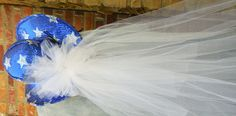 Glitter Blue with Glitter Silver Stars Brides Night Out Hat with White Mesh Veil. gottagottahaveit.com