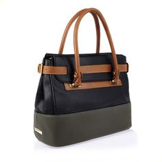 Black, gray and tan laptop bag/tote  Charles & Keith