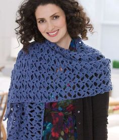 Free pattern from Red Heart. Romantic Lacy Shawl. I'm making this now, and it's SUPER easy, a great beginner project. But I think I'll end up using 3, not 2, skeins.