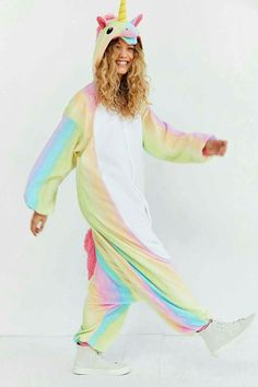 Shop Kigurumi Rainbow Unicorn Costume at Urban Outfitters today. Unicorn Fashion, Unicorn Outfit, Unicorn Costume, Onesie Unicorn, Unicorn Clothes, Real Unicorn, Magical Unicorn, Rainbow Unicorn, Mode Kawaii