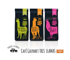 Three Llamas Gourmet Organic Coffee Project for Jackmans Goods. Designed: Martin Joyce and Clare Cato. Creative Communications, Graphic Design Company, Logo Creation, Publication Design, Coffee Packaging, Book Publishing, Llamas, Vape, Organic