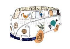 volkswagen bus drawing -lynsey hunter
