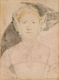 "An unidentified woman, Hans Holbein the Younger, c. 1532-43. ""A portrait drawing of an unidentified woman. A bust length portrait facing to the front. She wears two pendants."""