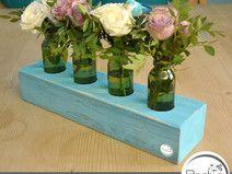 Shabby 4er Blumenvase türkis Holz Vasenhalter Glas