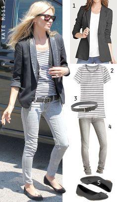 gray skinny jeans, striped tee, black blazer, black flats.