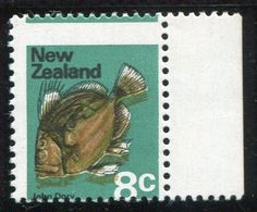 NZ Error 1970 Picts 8c John Dory Fish, unh single grossly misplaced perfs, plus colour shifts, stunning single #Stamps #Airmail #MADonC