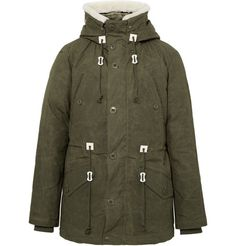 SNOW PEAK Shearling-Trimmed Waxed-Cotton Down Jacket