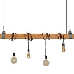 Hanglamp Gorreto rustiek eiken met zwart staal exclusief lichtbronnen (bulb, lamp, snoer, industrieel)