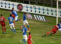 Maxime Chanot #2 of Luxembourg scores his teams first goal  during the international friendly match between Italy and Luxembourg on June 4, ...