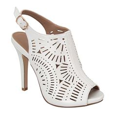 Forever Link Shoes White Giana Slingback Sandal ($20) ❤ liked on Polyvore featuring shoes, sandals, sling back sandals, high heel sandals, slingback sandals, white high heel sandals and slingback shoes