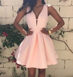 Cute Deep V-Neck Pure Color Dress UHA25RD