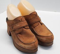 Free People Wooden Clog Cross Bow Leather Brown Size US 7 EURO 37
