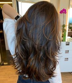 Dimensional Brunette Layered Hairstyle Very Long Hair, Long Curly Hair, Long Hair Cuts, Layers For Curly Hair, Wavy Hair, Haircuts Straight Hair, Long Layered Haircuts, Layered Long Hair, Hairstyles For Layered Hair